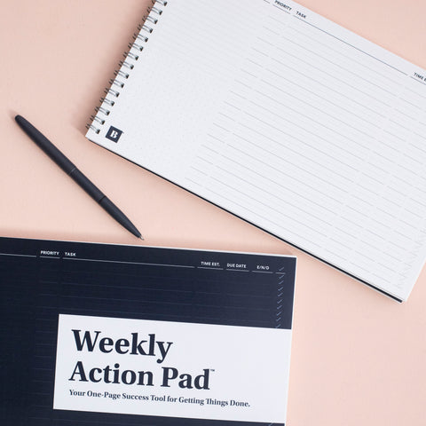 Weekly Action Pad lifestyle image with win the day pen