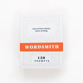 WordSmith Deck front view 150 prompts. Less writer's block, more writing.
