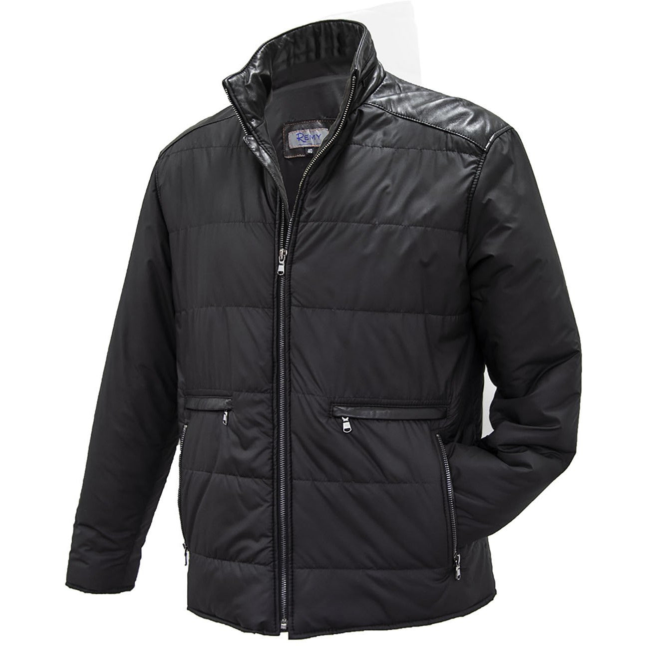 1702 - Mens Microfiber with Leather Collar Jacket in Ink/Noir