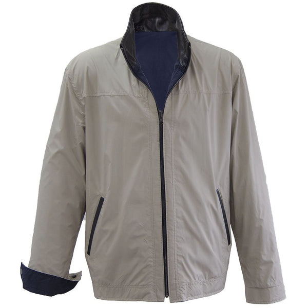 1788 - Mens Microfiber Reversible Jacket in Royal/Beige/Cognac