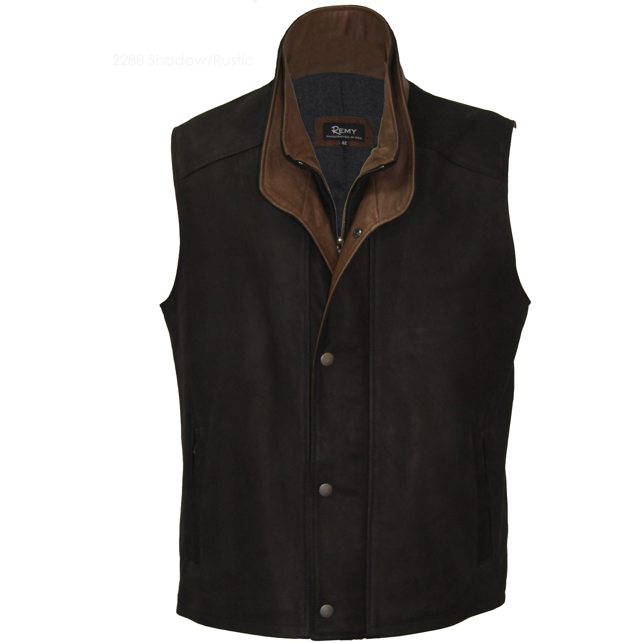 2288 - Mens Leather Double Collar Vest