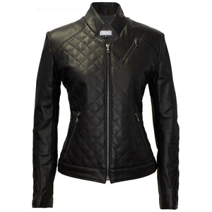3040 - Ladies Leather Moto Jacket in Noir