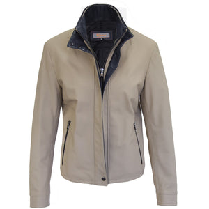 3050 - Ladies Double Collar Leather Jacket in Ivory/Harbor