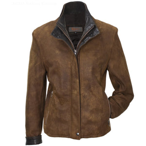 3050 - Ladies Double Collar Leather Jacket in Safari/Cognac