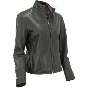 3051- Ladies Zip Up Leather Jacket in Smoke/Rustic