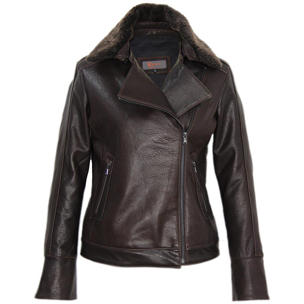 3062- Ladies Zip Up Leather Jacket With Shearling Collar in Rum