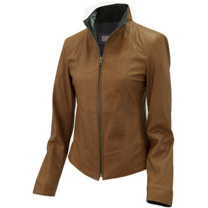 3074- Ladies Zip Up Leather Jacket in Tobacco/Cognac