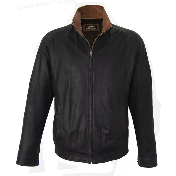 6040 - Mens Leather Single Collar Bomber Jacket