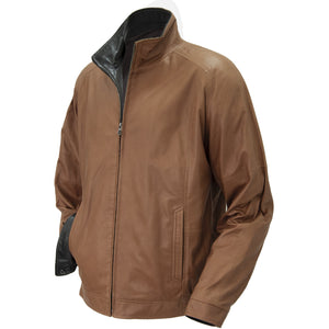 6040 - Mens Single Collar Leather Bomber Jacket in Tobacco/Cognac