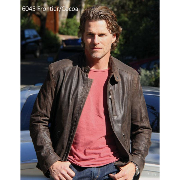 6045 - Mens Leather Cafe Moto Style Jacket
