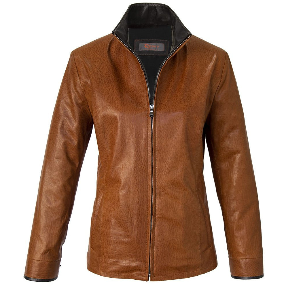 7020- Ladies Zip Up Leather Jacket in Amber/Cognac