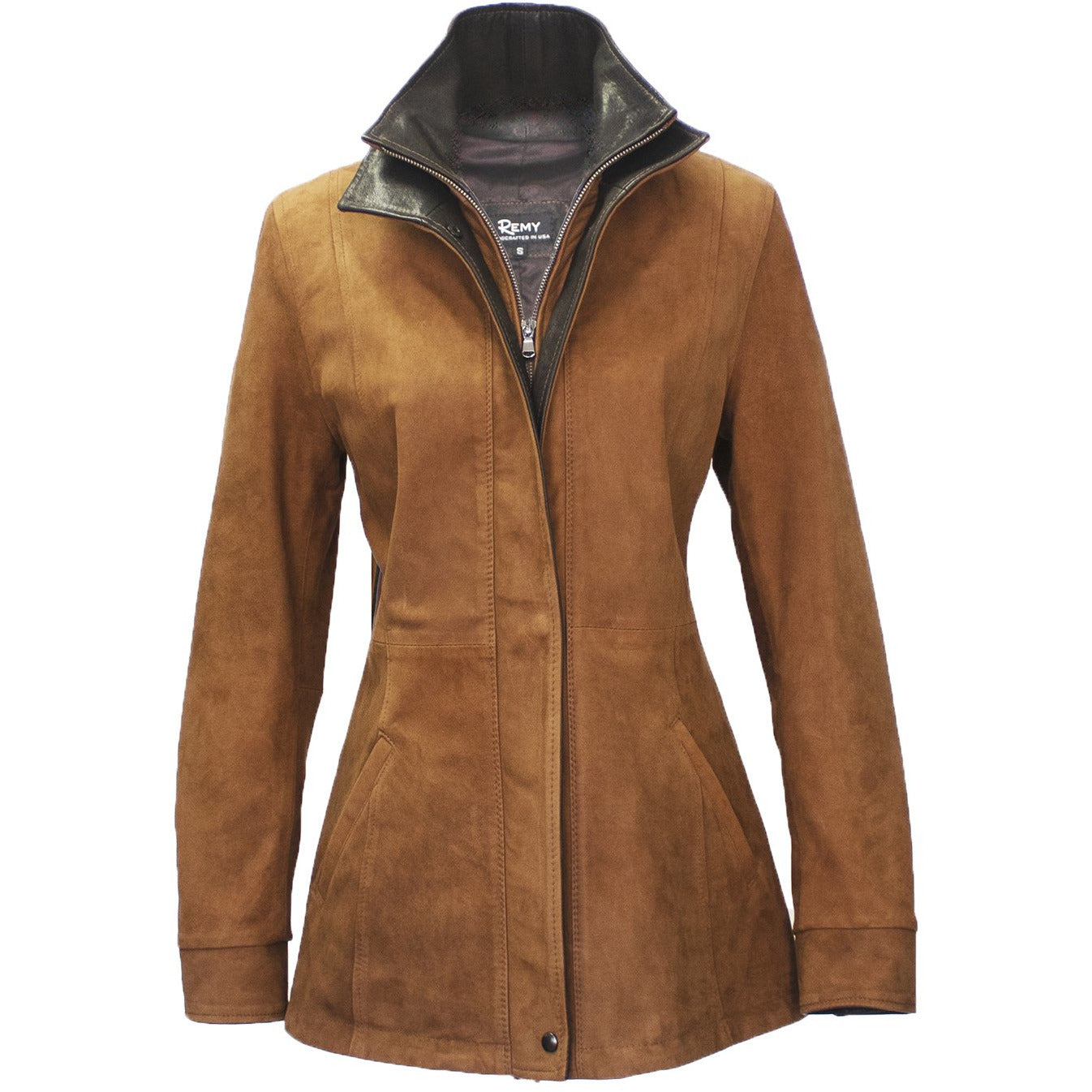 7059 - Ladies Leather Double Collar 3/4 Length Coat in Bourbon/Cocoa