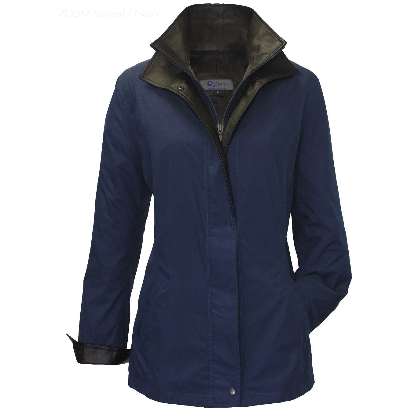 7059 - Ladies Double Collar Microfiber Coat in Royal/Noir