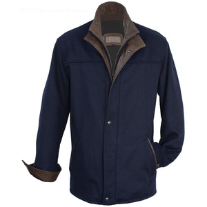 8029 - Mens Wool Cashmere 3/4 Length Coat in Marine/Rustic