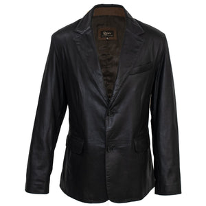 MENS LEATHER TWO BUTTON BLAZER - BLACK/RUSTIC - 8030