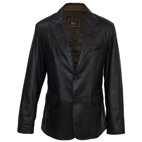 8030 -  Mens Leather Two Button Blazer (Sports Coat, No Vent)