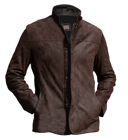 8052 - Mens Leather Jacket in Nubuck Print