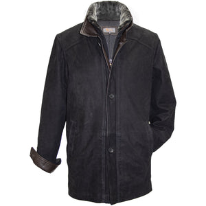 8253 - Mens Wool Lined Double Collar with Shearing Trim 3/4 Length Leather Coat in Ace/Rustic