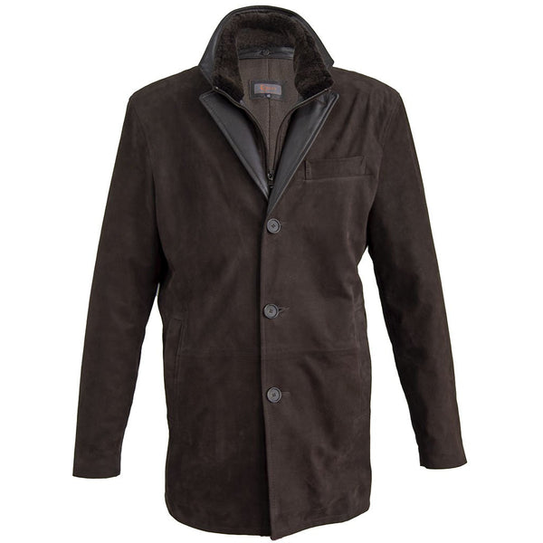8270 - Mens Wool Lined Double Collar with Shearling Trim 3/4 Length Leather Coat in Whiskey/Cognac