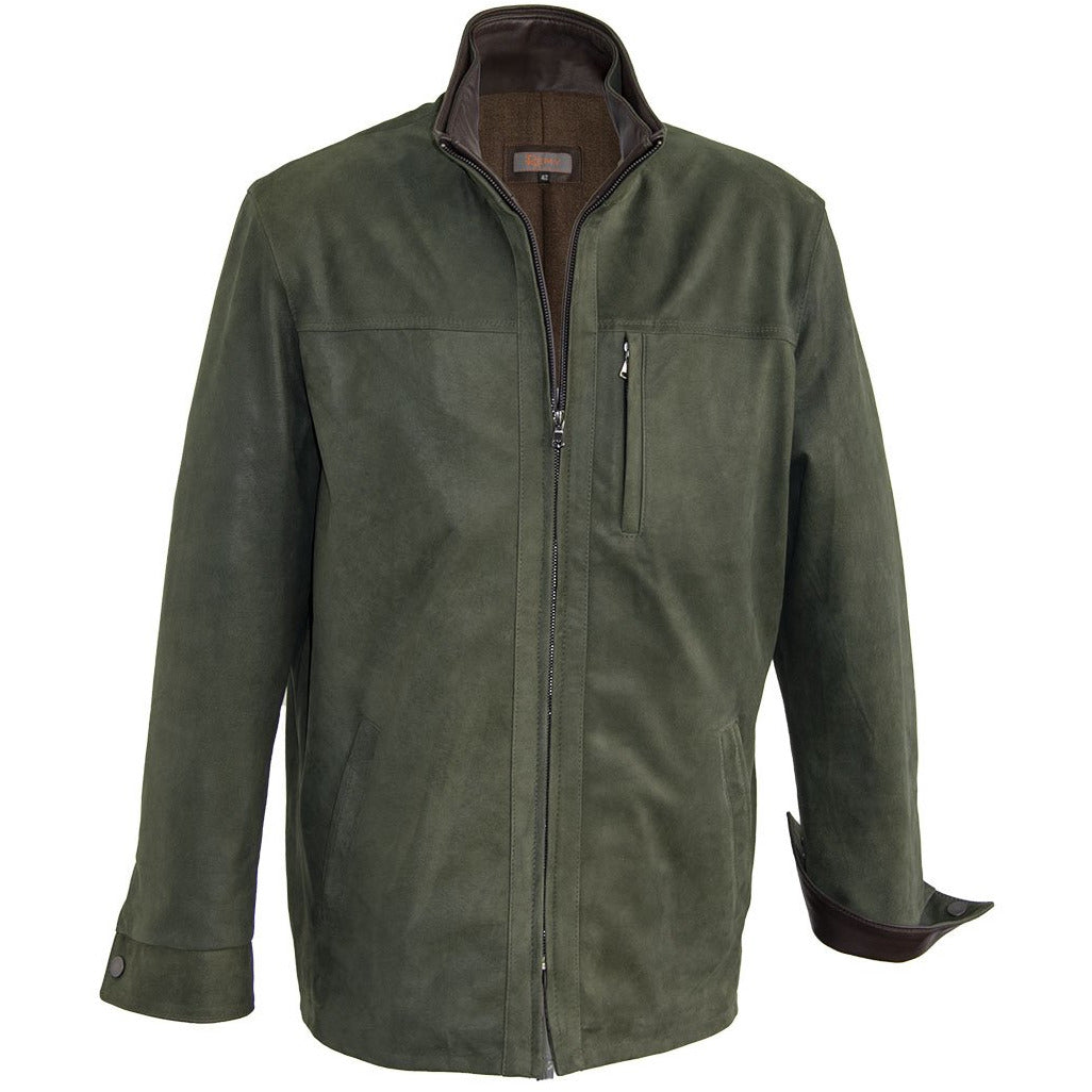8280 - Mens 3/4 Length Leather Coat with Wool Lining in Forest/Rustic