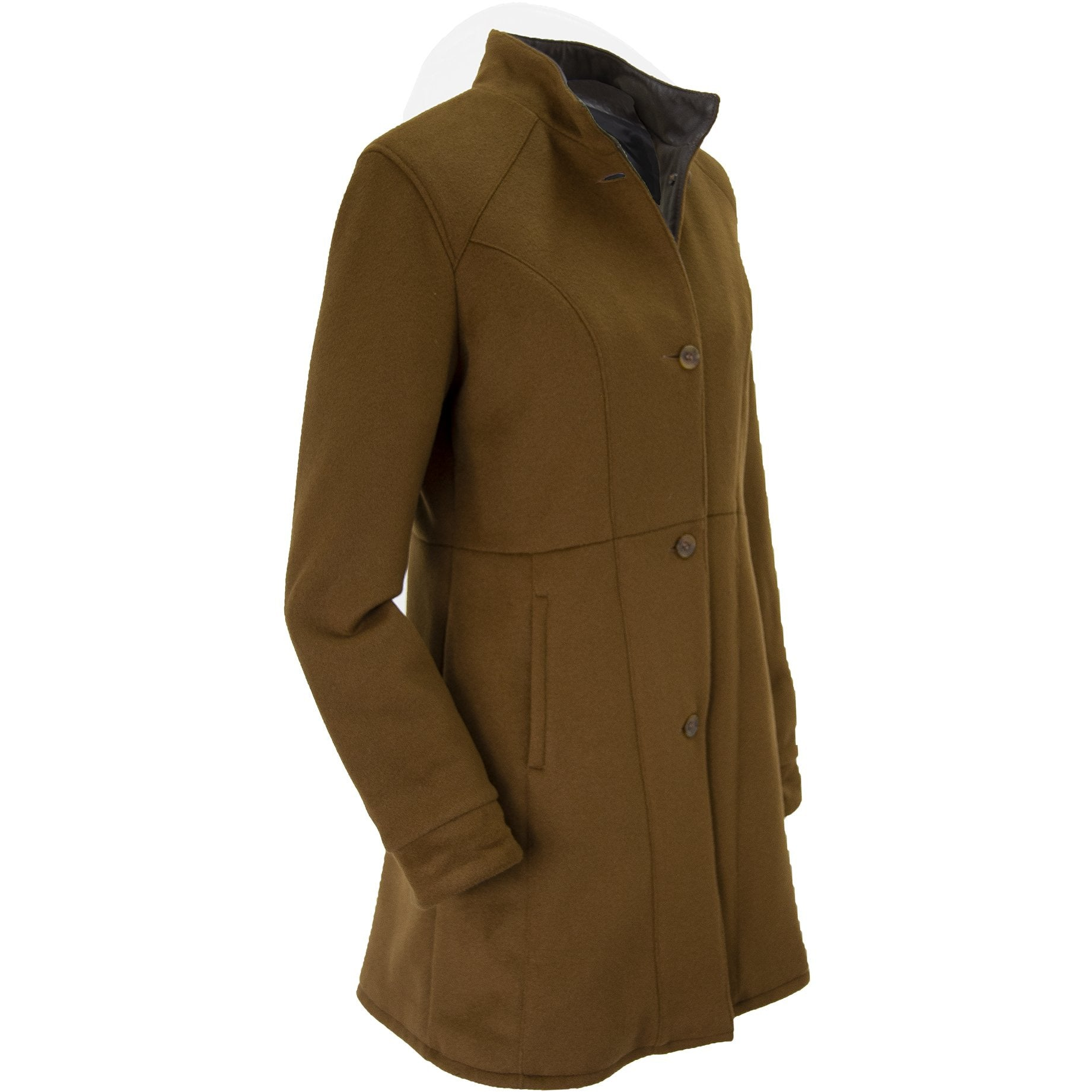 9022 - Ladies Wool Cashmere Swing Coat in Camel/Rustic