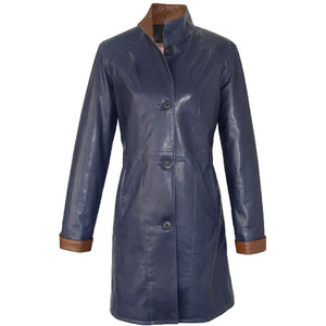 9022 - Ladies Leather Swing Coat in Monty Blue/Timber