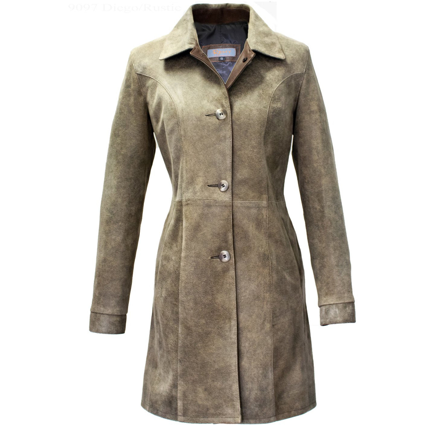 9097 - Ladies Leather Button Coat in Diego/Rustic