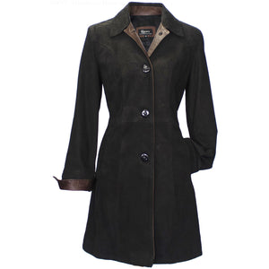 9097 - Ladies Leather Button Coat in Shadow/Rustic