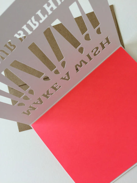 Make a Wish - neon red // cut paper card