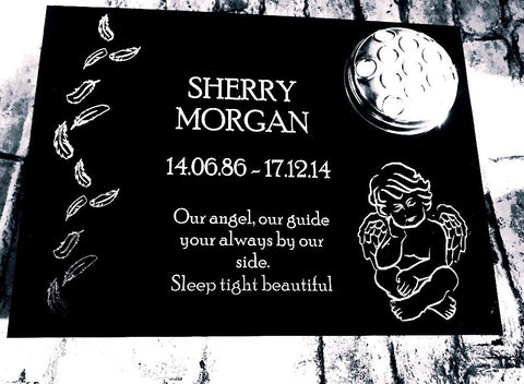Angel with Feathers Flat Personalised Memorial Grave Marker including Flower Pot  sc 1 st  Memorial Plaques \u0026 Grave Markers \u2013 Something Special Memorials & Memorial Plaques \u0026 Grave Markers \u2013 Something Special Memorials