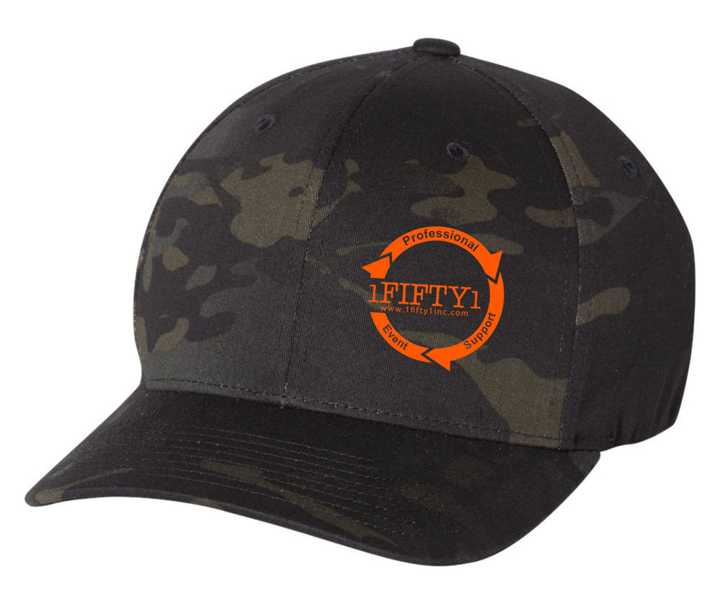1Fifty1 *Embroidered Logo Flexfit (Black Camo)
