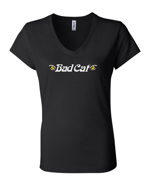 Bad Cat - Girls Vneck Tee