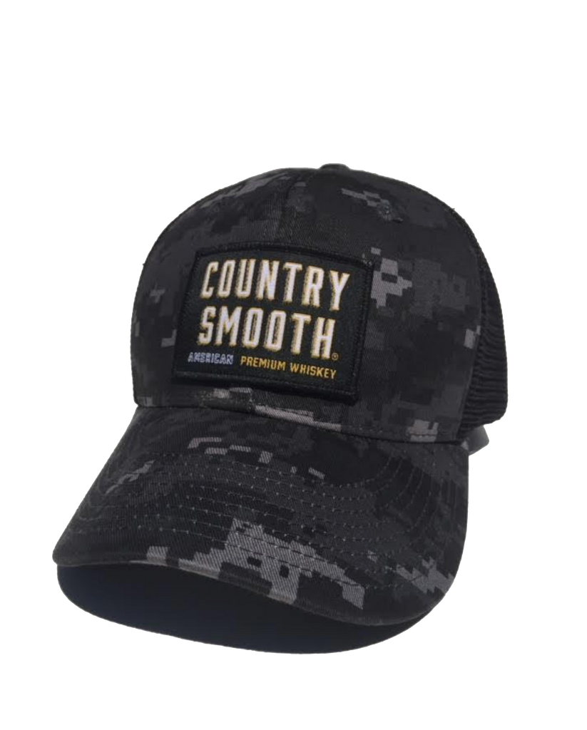 Country Smooth - 5 Panel Flat Bill Trucker Hat (NTG/BLK)