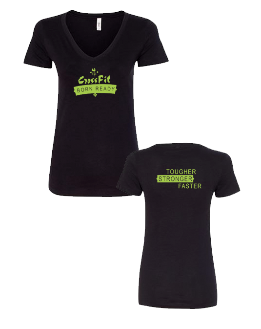 CFBR Ladies Vneck (Banner Logo - Lime)