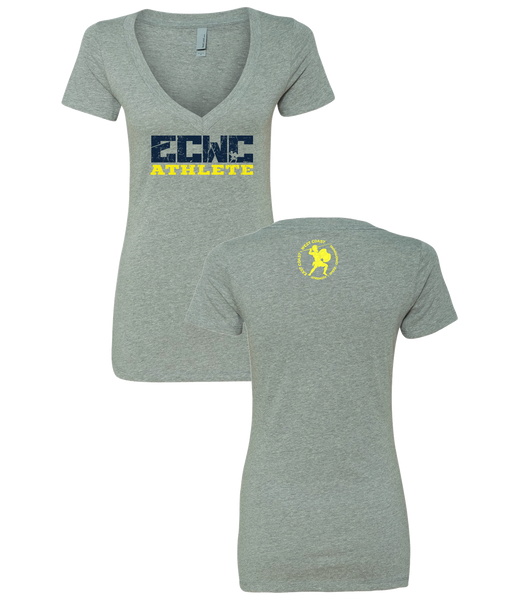 Womens ECWC Athlete V-neck (Dark Heather Grey)