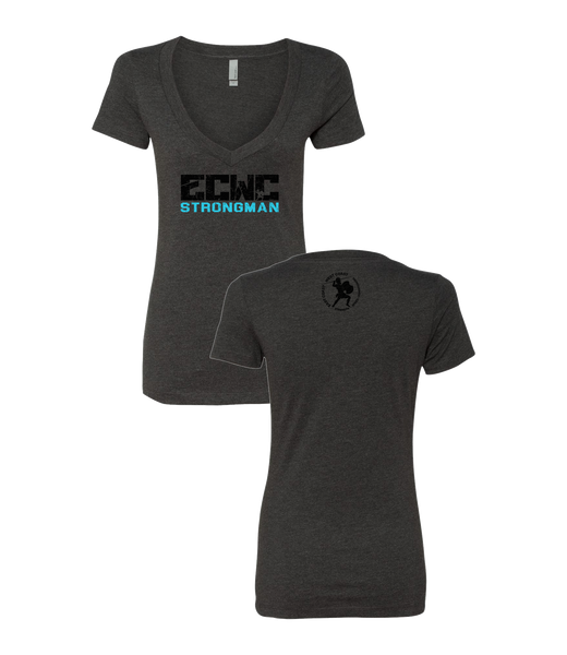 Women's ECWC Strongman V-neck (Charcoal)