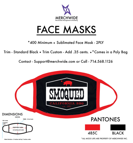 (SMOQUED) Sublimated FaceMask - Full Color