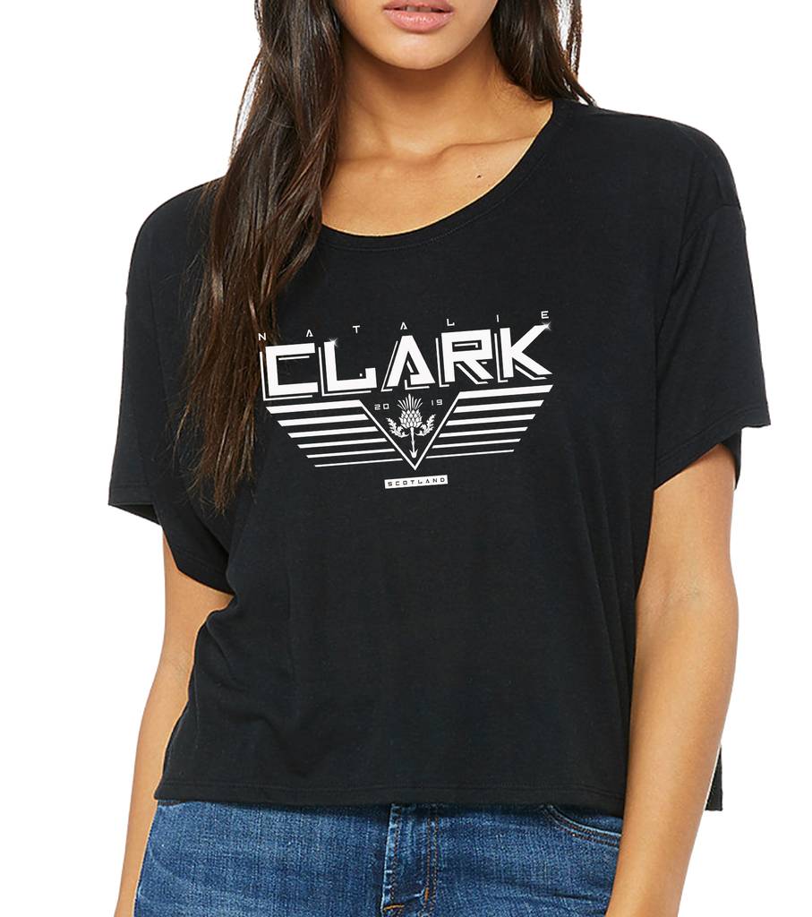 NATALIECLARK - BLACK 'WINGS' BOXY T (white text)