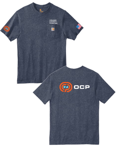 "OCP - ""Orange County Pumping"" Pocket T-Shirt (Dark Cobalt Blue Heather)"