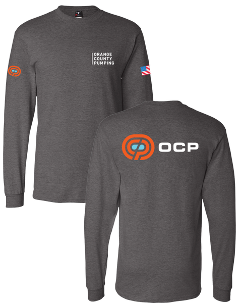 "OCP - ""Orange County Pumping"" Left-Chest (Beefy Longsleeve - Charcoal Heather)"