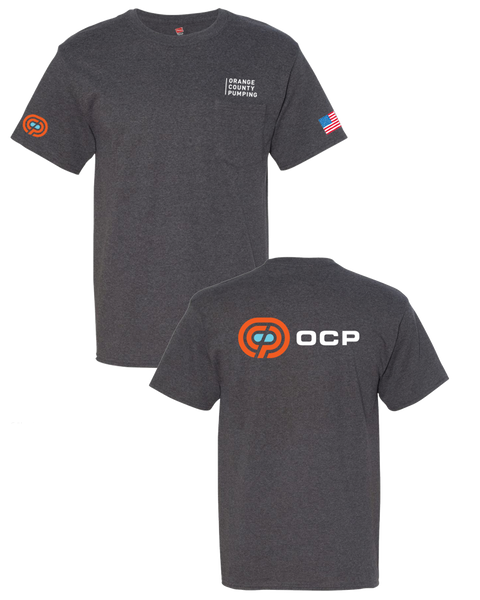 "OCP - ""Orange County Pumping"" Pocket T-Shirt (Beefy Tee - Charcoal Heather)"