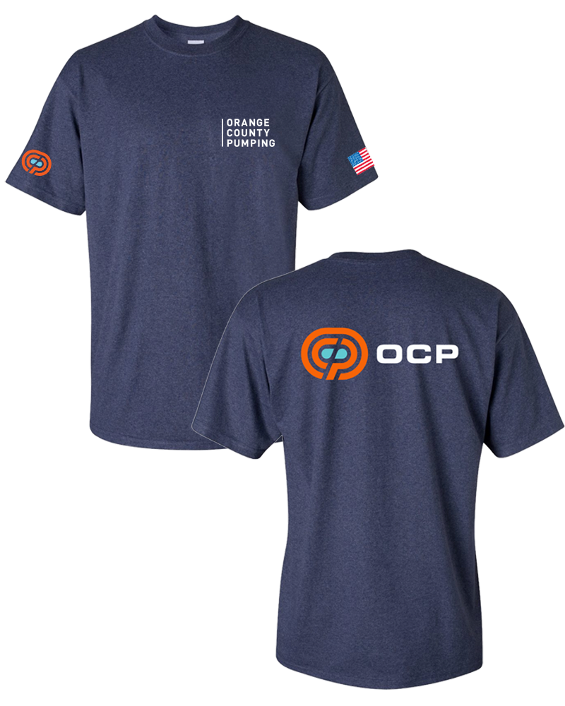 "OCP - ""Orange County Pumping"" Left-Chest T-Shirts (Navy Heather)"
