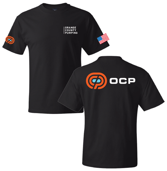"OCP - ""Orange County Pumping"" Left-Chest T-Shirts (Black Tee)"