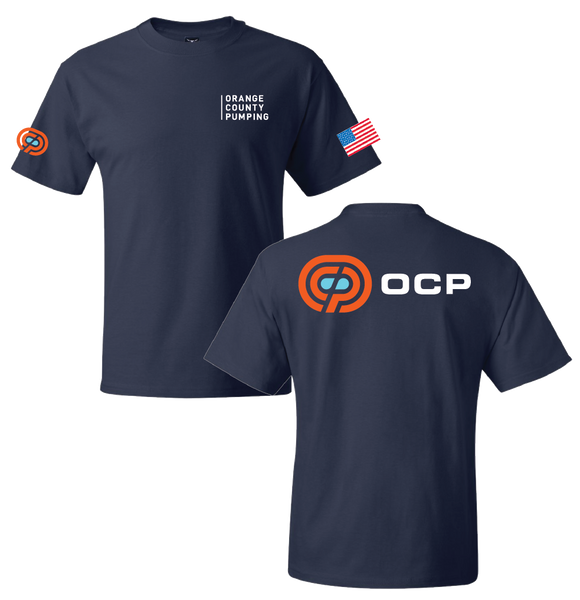 "OCP - ""Orange County Pumping"" Left-Chest T-Shirts (Navy Tee)"