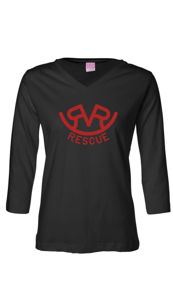 Hitch'n Post - Womens Ranch Rescue Logo 3/4 Sleeve (Black)