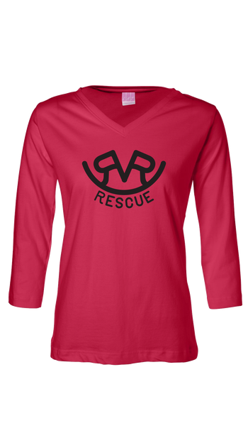 Hitch'n Post - Womens Ranch Rescue Logo 3/4 Sleeve (Red)