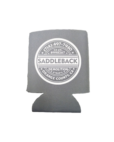 Saddleback Demo - Koozie (Charcoal with White print)