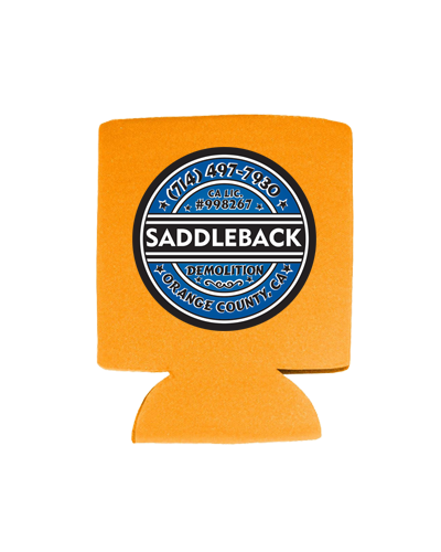 Saddleback Demo - Koozie (Orange with Blue print)