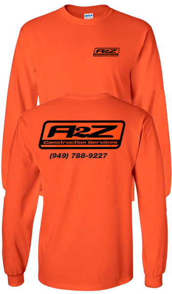 A2Z - BRIGHT ORANGE - Longsleeve (with black print)