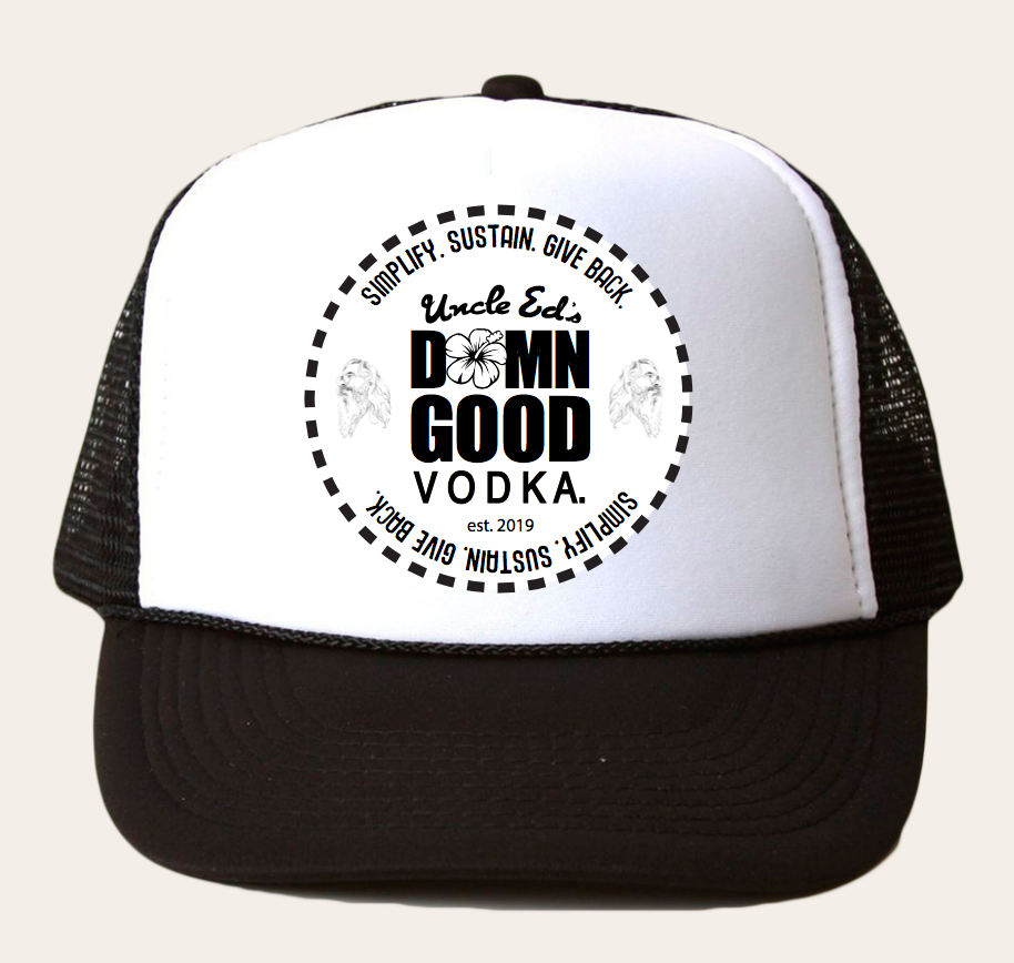 UNCLE ED - TRUCKER HAT (WHITE) with Screen Print